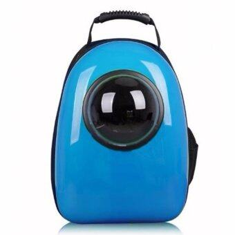 Harga Pet Space Travel Bag Transparent Breathable Pet Bag Multi-Functional Pet Cat Kitten Carrying Bags Multipurpose Capsule Shaped Dog Backpack (Blue)