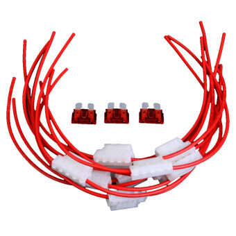 Harga 10pcs 5A Middle Fuse Holder with Cable for Car Boat Truck ATC/ATO Blade (Red) (...)