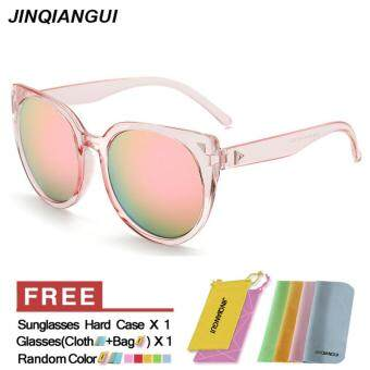 Harga JINQIANGUI Sunglasses Women Cat Eye Retro ClearPink Color Polaroid Lens Plastic Frame Driver Sunglasses Brand Design