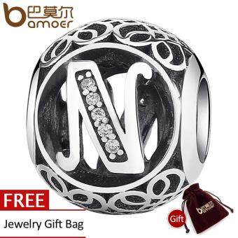 "Harga BAMOER 925 Sterling Silver Letter Collocation Bead ""N"" Alphabet Bead Charms fit DIY Bracelets & Bangles DIY Jewelry PSC008-N"
