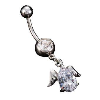 Harga Wing Zircon Pendant Dangle Button Navel Belly Barbell Ring Girl Women Body Piercing Jewelry