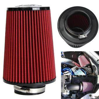 "Harga 3"" High Flow Car Cold Air Intake Filter Tapered Cone Cold Air Cleaner Red"