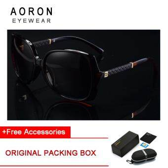 Harga AORON Brand Women's Polarized Fashion Accessories Anti-UV Sunglasses Gradient Polarizer Female Sunglasses (Brown Frame+Black Lens) [Buy 1 Get 1 Freebie]