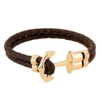 Harga Unisex Leather Bracelet Brown With Gold Lining