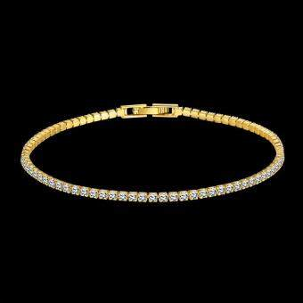 Harga Women's Fashion Fashion K Gold Simple Geometric Mosaic Zircon Bracelet Gold Gold Bracelet (Gold)