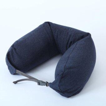 Harga MUJI Well fitted Neck Cushion U Shape Travel Neck Pillow Cushion Memory Foam Pillow Ergonomically Shaped Pillow and Seat Memory(Navy)