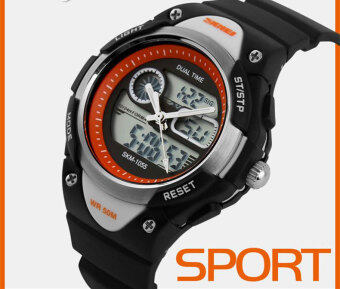 Harga SKMEI Watch 1055 Children Sport Watch Waterproof Analog Digital Wristwatch Quartz LED Dual Display Kids Young Boys Running Watch