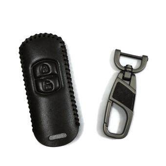 Harga Hand-Sewn Leather Remote Car Key Cover Case Compatible with Mazda 2 / CX3 / CX5 Keyless 2Buttons Remote (Black-BLACK Line)