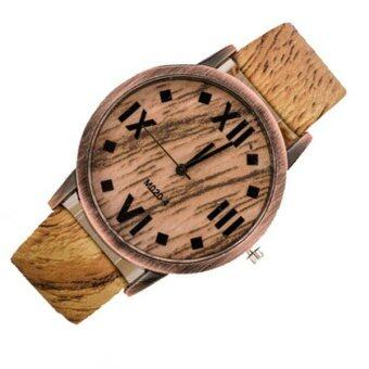 Harga 2016 Creative Fashion Wristwatch Leather Dial Mens Quartz Analog Watch Casual Males Bamboo Wooden Watches (Light Brown)