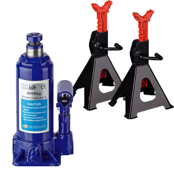 Harga AKH Hydraulic Bottle Jack (4 Tons) and MHR Tools Jack Stands (3 Tons) Jack and Stands Set Value Bundle Set