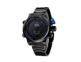 Harga WEIDE Mens Dual Time Display Sports Wrist Watches(Black&Blue)