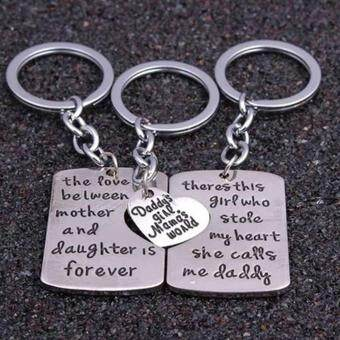 Harga Hequ Daughter Mother Pendant Necklace 3pc set Dad Keychain Family Mother s Day Father s Day Keyring