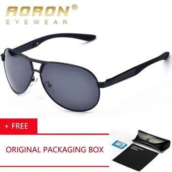 Harga AORON Brand Polarized Sunglasses Men Driver Mirror Sun glasses Male Fishing Female Outdoor Sports Eyewear For Men A193 Cermin Mata Hitam [ Buy 1 Get 1 Freebie ]