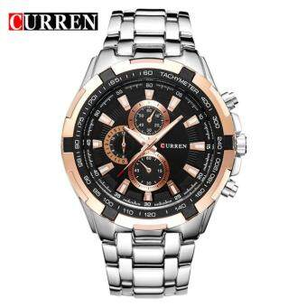 Harga CURREN Watches Men quartz Analog Military male Watches Men Sports army Watch Waterproof 8023 Black+Silver