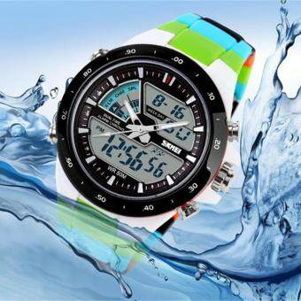 Harga Skmei 1016 Quartz Multicolor Silicone Army Waterproof Sport Digital Analog Watch