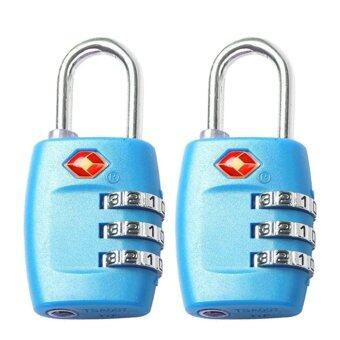 Harga 2 PCS 3-Digit Resettable Combination TSA Travel Luggage Suitcase Lock Padlock (Color:Blue)