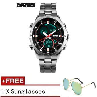 Harga 2017 Luxury Brand Skmei 1146 Men's Watches Multifunction Army Military Digital Analog Quartz Date LED Stainless Steel Sport Wrist watch