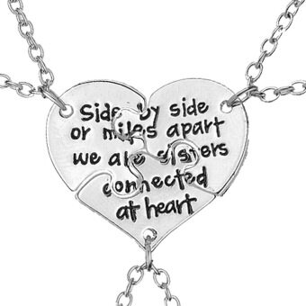 "Harga ""Side By Side or Miles Apart We Are Sisters Connected at Heart"" Letter Bestie Necklace Best Friend Forever Heart Shaped Stitching Necklace Into 3 Pcs Puzzle Pendant for Friends"