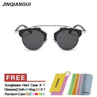 Harga JINQIANGUI Sunglasses Women Cat Eye Retro Titanium Frame Sun Glasses Black Color Eyewear Brand Designer UV400