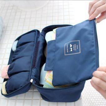 Harga GoTravel 7003 Korean Multipurpose Travel Underwear Organizers Bag (Navy Blue)