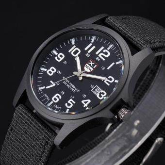 Harga Outdoor Mens Date Stainless Steel Military Sports Analog Quartz Army Wrist Watch Fashion Mall(Black)