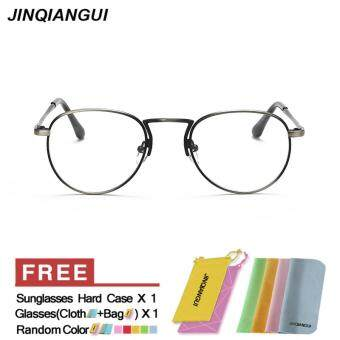 Harga JINQIANGUI Fashion Pilot Glasses GunGrey Frame Glasses Plain for Myopia Men Eyeglasses Optical Frame Glasses