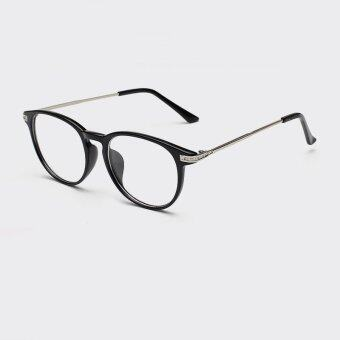 Harga JINQIANGUI Fashion Mens Glasses Frame Vintage Retro Round Glasses BrightBlack Frame Glasses Plastic Frames Plain for Myopia Men Eyeglasses Optical Frame Glasses