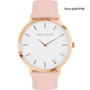 Harga BUYINCOINS The Fifth Brand Women Men Casual Simple Quartz Analog Watch Gold Leather Band Wrist Watches