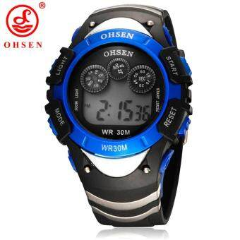 Harga 2015 Glass Plastic Reloj Ohsen Brand Watch Wristwatch Mens Rubber Multi-function Children's Boys Waterproof Band Fashion Watches