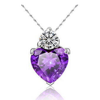 Harga Vanker Women Lady Zircon Crystal Heart Love Pendant for Necklace Romantic Charm Jewelry (Purple)