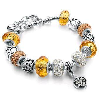 Harga Jochebed Latest Women Fashion DIY Crystal Murano Charm Beads Snake Chain Bracelet. Pandora Compatible (Yellow)