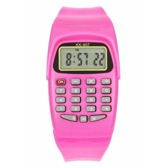 Harga Ajusen LED Calculator Watch Electronic Digital Chronograph Computer Kids Child Boys Girls Rubber Wrist Watches