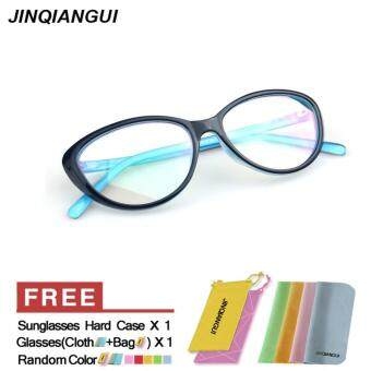 Harga JINQIANGUI Fashion Vintage Retro Cat Eye Glasses Blue Frame Glasses Plastic Frames Plain for Myopia Women Eyeglasses Optical Frame Glasses