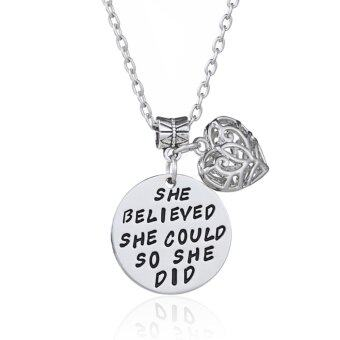 Harga Hequ Inspirational Jewelry She believed she could so she did Necklace Daughter Sister Friend Graduation Mother