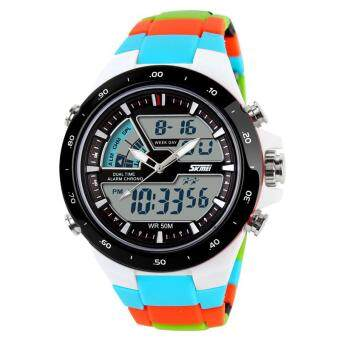 Harga SKMEI Sport Watches Men Quartz Dual Display Watches Outdoor Alarm Chrono Waterproof Calendar Watches 1016