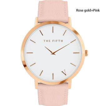 Harga High Quality Store New The Fifth Brand Women Men Casual Simple Quartz Analog Watch Golden Leather Band Wrist Watches