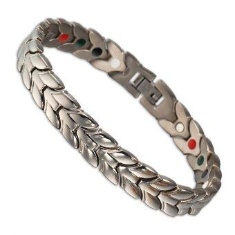 Harga 21 Cm Men Jewelry Silver Plated Germanium Titanium Bracelet Bangle Bio Magnetic Ion Chain Link Bracelet For Men