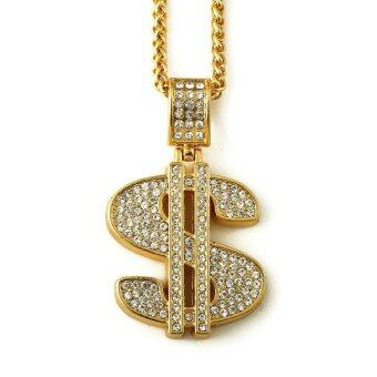 Harga Gold Plated Hip Hop Bling Bling Dollar Sign Gold Chain Dollars Rhinestone Pendant Necklace Fashion Jewelry Men Women Gifts