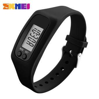Harga SKMEI 1207 Women's Fashion Colorful Silicone Strap Sports Watches Pedometer Calorie Sport Mileage Digital Watch - Black(BLACK)