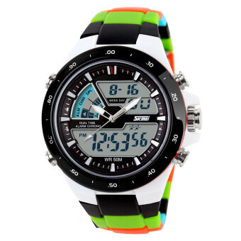 Harga Skmei Fashion Men's Quartz Watch Analog-Digital Led Sports Waterproof Watch 1016 - Black Green