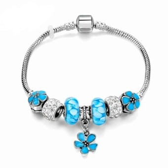 Harga Jochebed Latest Women Fashion DIY Crystal Murano Charm Bead Snake Chain Bracelet. Pandora Compatible (Blue Pixabay Pendant)