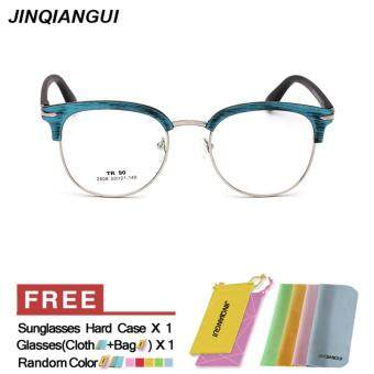 Harga JINQIANGUI Glasses Frame Men Half Frame Titanium Eyewear Blue Color Frame Brand Designer Spectacle Frames for Nearsighted Glasses