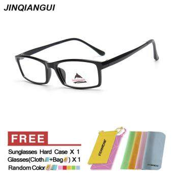 Harga JINQIANGUI Fashion Glasses Frame Rectangle Glasses Black Frame Glasses Plastic Frames Plain for Myopia Men Eyeglasses Optical Frame Glasses