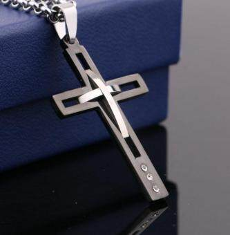 Harga Men's Cross Pandents Necklace 316L Stainless Steeel Cross Necklace for Men(Black)