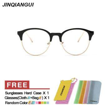 Harga JINQIANGUI Women's Eyewear Fashion Vintage Retro Round Glasses BrightBlack Frame Glasses Plain for Myopia Women Eyeglasses Optical Frame Glasses