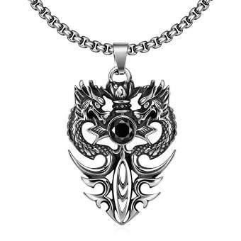 Harga Kemstone Retro Titanium Steel Dragon Pendant Necklace