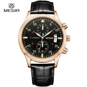 Harga MEGIR New Fashion Leather Stop Watch for Man 2017 Casual Quartz Watches Men Calendar Wrist Watches for Males 2021