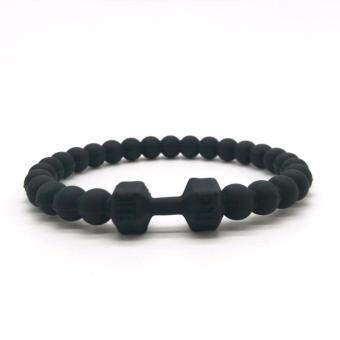 Harga Men Energy Barbell Bangle Jewelry Fitness Fit Life Prayer Resin Silicone Men Dumbbell Bracelets Yoga Mala Bracelets
