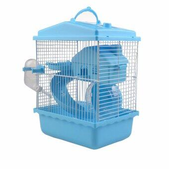 Harga 2 Tiers Luxury Hamster Cage with Wheels, Ladders, Loft And Water Bottle,Blue