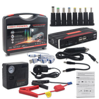 Harga Auto Inflator Pump +4 USB Car Jump Starter Emergency Charger Booster Power Black